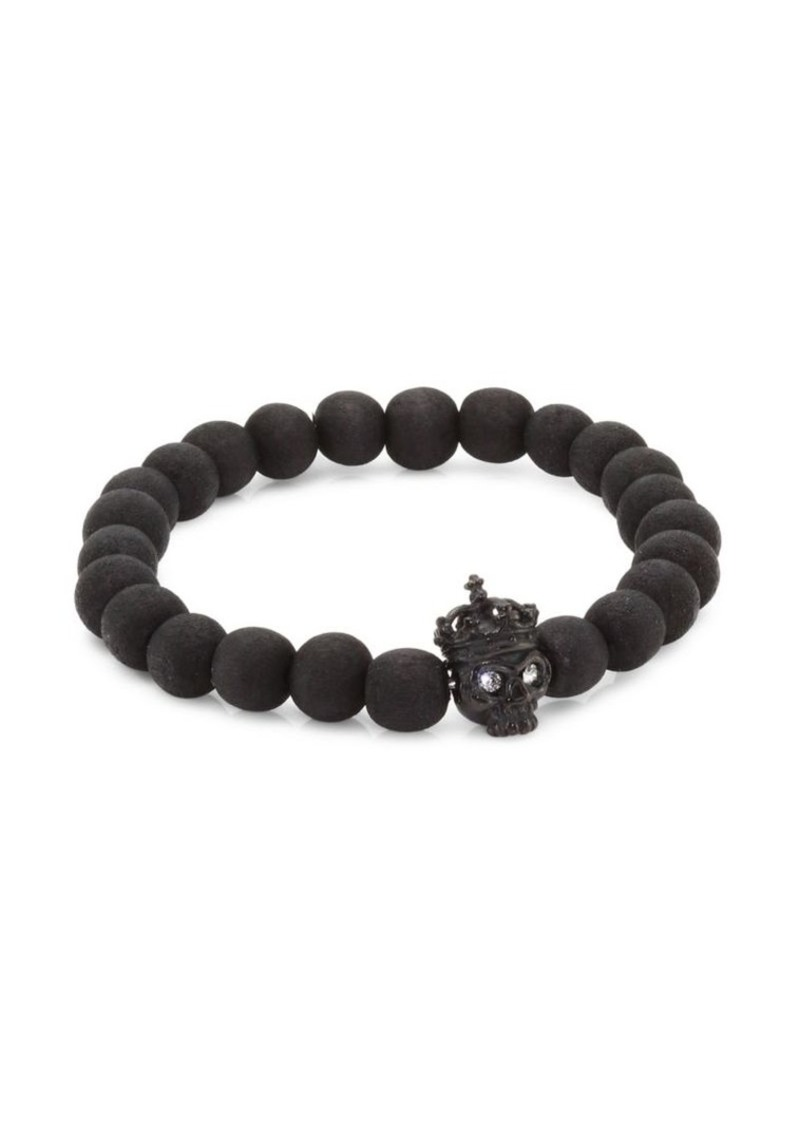 Tateossian King Skull Crystal, Silver & Wood Beaded Bracelet
