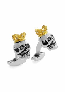 Tateossian King Skull Cuff Links w/Golden Plating