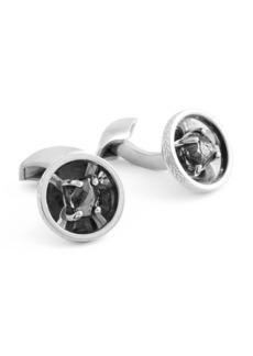 Tateossian Limited Edition Signature Diamond Bowl Silver Cuff Links