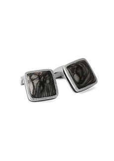 Tateossian Marble Quartzite Silver Cufflinks