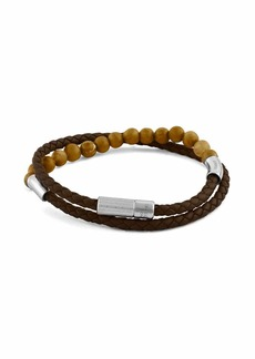 Tateossian Men's Beaded Leather Double-Wrap Bracelet