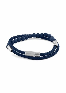 Tateossian Men's Beaded Leather Wrap Bracelet  Blue