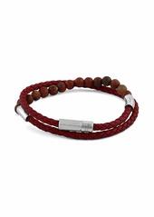 Tateossian Men's Beaded Leather Wrap Bracelet