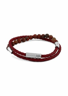 Tateossian Men's Beaded Leather Wrap Bracelet  Red