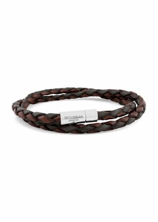 Tateossian Men's Braided Leather Double-Wrap Bracelet  Brown