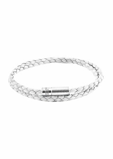 Tateossian Men's Braided Leather Double-Wrap Bracelet