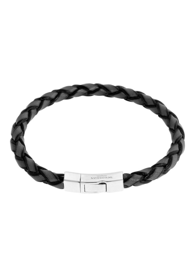 Tateossian Men's Braided Leather Silver Bracelet – L