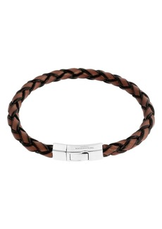 Men's Braided Leather Silver Bracelet – M