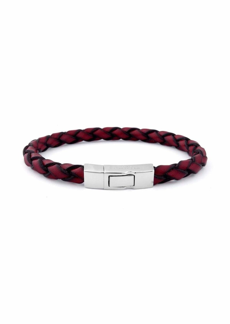 Tateossian Men's Braided Leather Silver Bracelet
