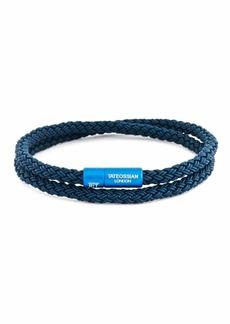 Tateossian Men's Braided Rubber Double-Wrap Bracelet  Size M