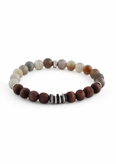 Men's Frosted Wood & Agate Bead Bracelet