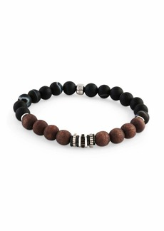 Tateossian Men's Frosted Wood-Bead Bracelet