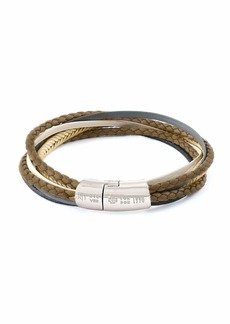 Tateossian Men's Multi-Strand Leather Cobra Bracelet