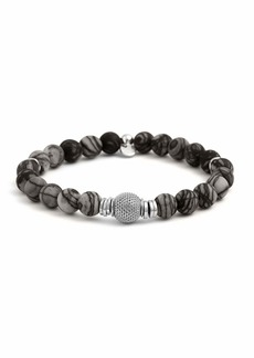 Tateossian Men's Stonehenge Bead Bracelet  Black