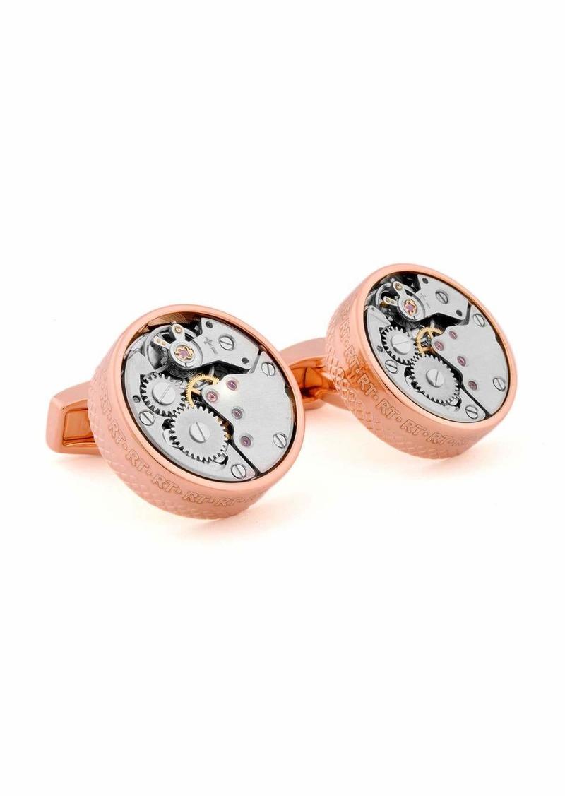 Tateossian Pink-Gold Plated Gear Cuff Links