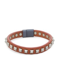 Tateossian Pyramid Studded Leather Bracelet