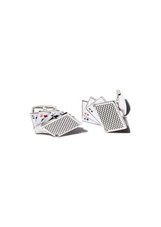 Tateossian Rhodium Odd Pair Card Cufflinks