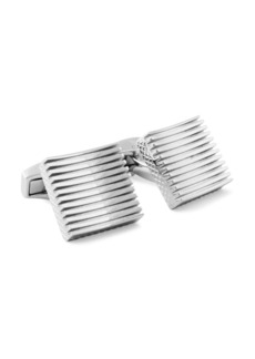 Tateossian Rhodium Plain Zen Cufflinks