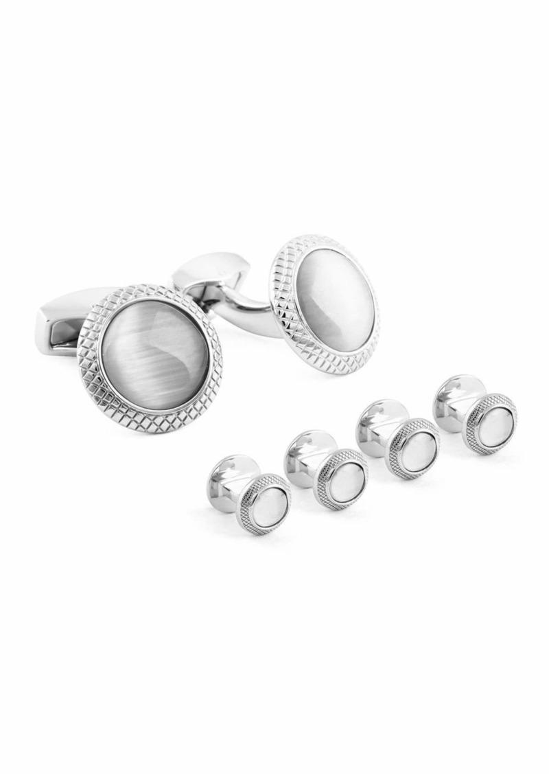 Tateossian Rhodium-Plated Glass Cuff Links & Stud Set