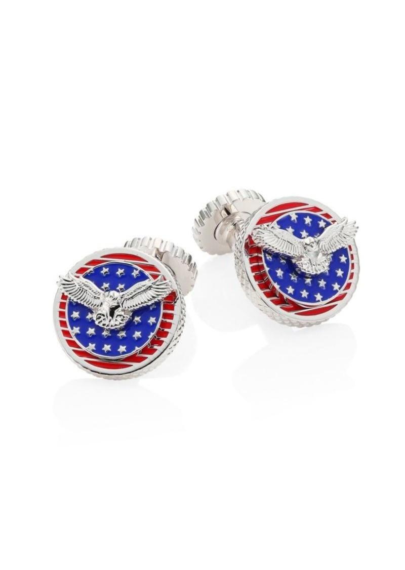 Tateossian Rotating Flags Rhodium-Plated Cufflinks