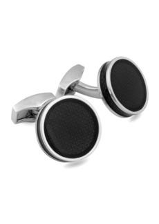 Round Enamel Silver Cuff Links