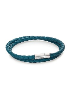 Tateossian Scoubidou Leather & Sterling Silver Braided Double-Wrap Bracelet