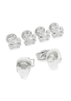 Tateossian Set of Three Crystal and Stainless Steel Skull Cuff Links