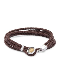 Tateossian Silver and Gold Braided Leather Bracelet