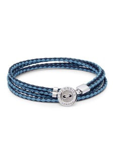 Tateossian Stainless Steel & Leather Braided Bracelet