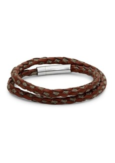 Tateossian Stainless Steel and Leather Braided Bracelet