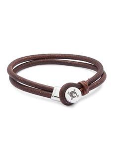 Tateossian Sterling Silver & Double Strand Leather Bracelet