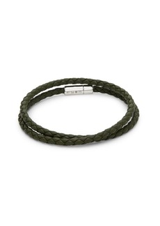 Tateossian Sterling Silver and Leather Wrap Bracelet