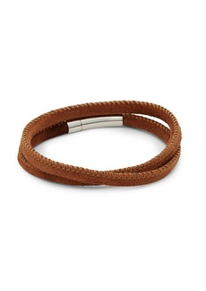 Sterling Silver and Leather Wrap Bracelet