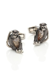 Tateossian Swarovski Rhodium-Plated Moving Monkey Cuff Links