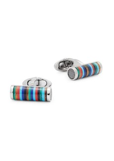 Tateossian Titanium Striped Cylinder Cufflinks