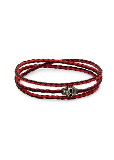 Tateossian Woven Leather Skull Bracelet