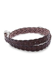 Tateossian Wrap Burnished Leather Bracelet