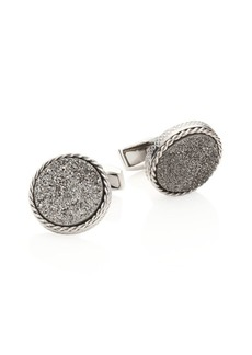 Tateossian Textured Titanium & Silver Cuff Links