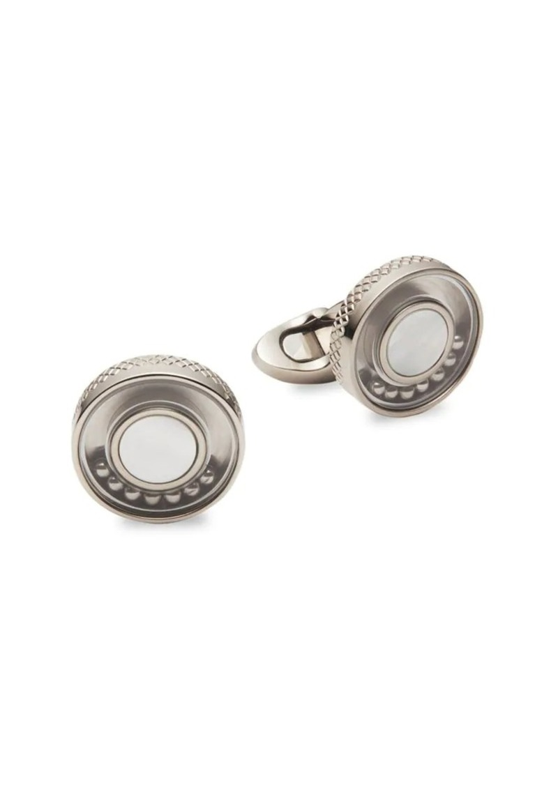 Tateossian Titanium & Mother-Of-Pearl Round Cufflinks
