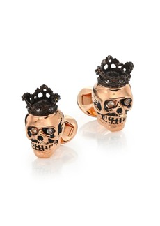 Tateossian Topaz 18K Rose Gold Plated Skull Cuff Links