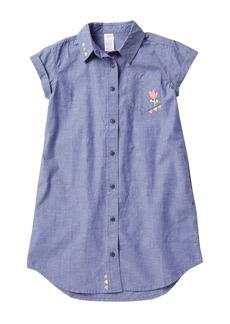 Tea Collection Embroidered Chambray Shirt Dress (Big Girls)