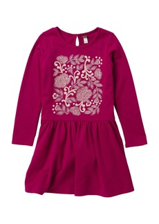 Tea Collection Feather & Fan Embroidered Dress (Toddler, Little Girls, & Big Girls)