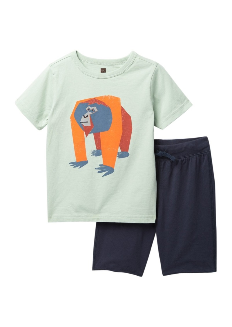 Tea Collection Orangutan Tee & Shorts Set (Toddler Boys)