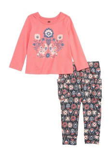Tea Collection Brilliant Blooms Top & Cargo Pants Set (Baby Girls)