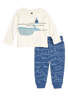 Tea Collection Diving Whale Graphic Shirt & Sweatpants Set (Baby Boys)
