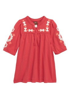 Tea Collection Embroidered Henley Dress (Baby Girls)