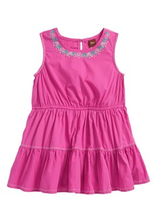 Tea Collection Embroidered Tiered Skirted Bodysuit (Baby Girls)