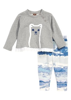 Tea Collection Furry Friend Graphic Top & Print Pants Set (Baby)