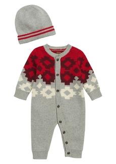 Tea Collection Ganado Sweater Romper & Beanie Set (Baby)