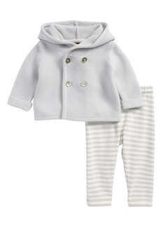 Tea Collection Hooded Knit Jacket & Pants Set (Baby)